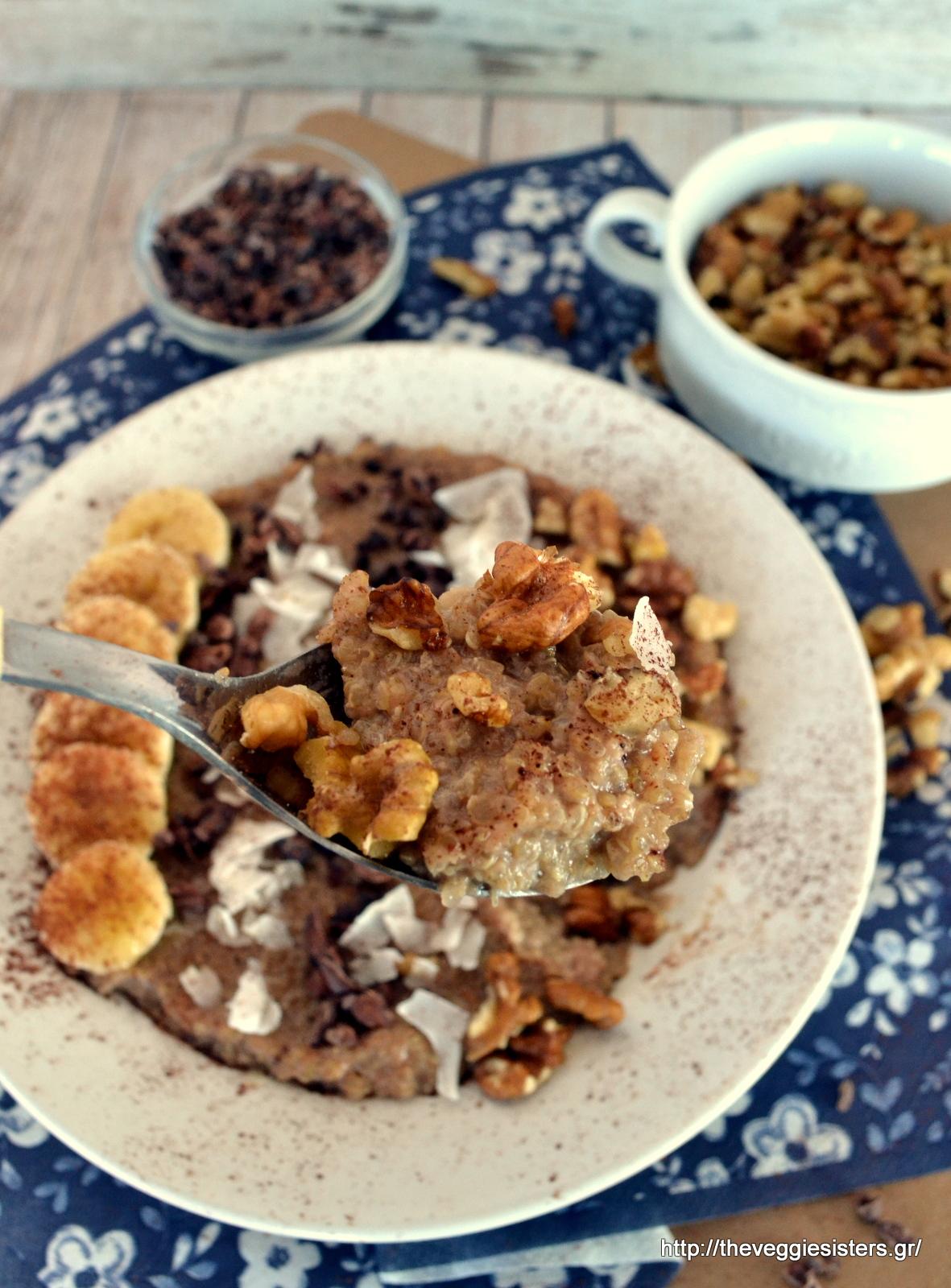 Κινόα με σοκολάτα, μπανάνα κ καρύδα για πρωινό