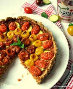 Τάρτα με ντοματίνια κ πέστο κόκκινης πιπεριάς – Vegan cherry tomato red pepper pesto tart