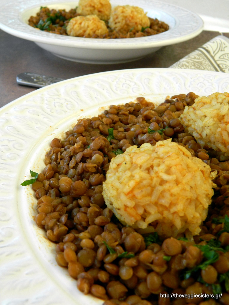 Φακές με πικάντικα μπαλάκια ρυζιού