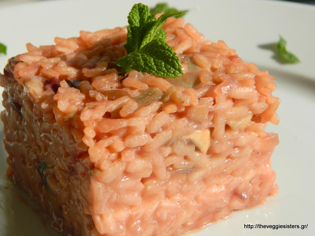 Ροζέ ριζότο με αγκινάρες κ μανιτάρια
