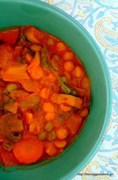 Εξωτικό κάρυ λαχανικών κ ρεβυθιών με γάλα καρύδας