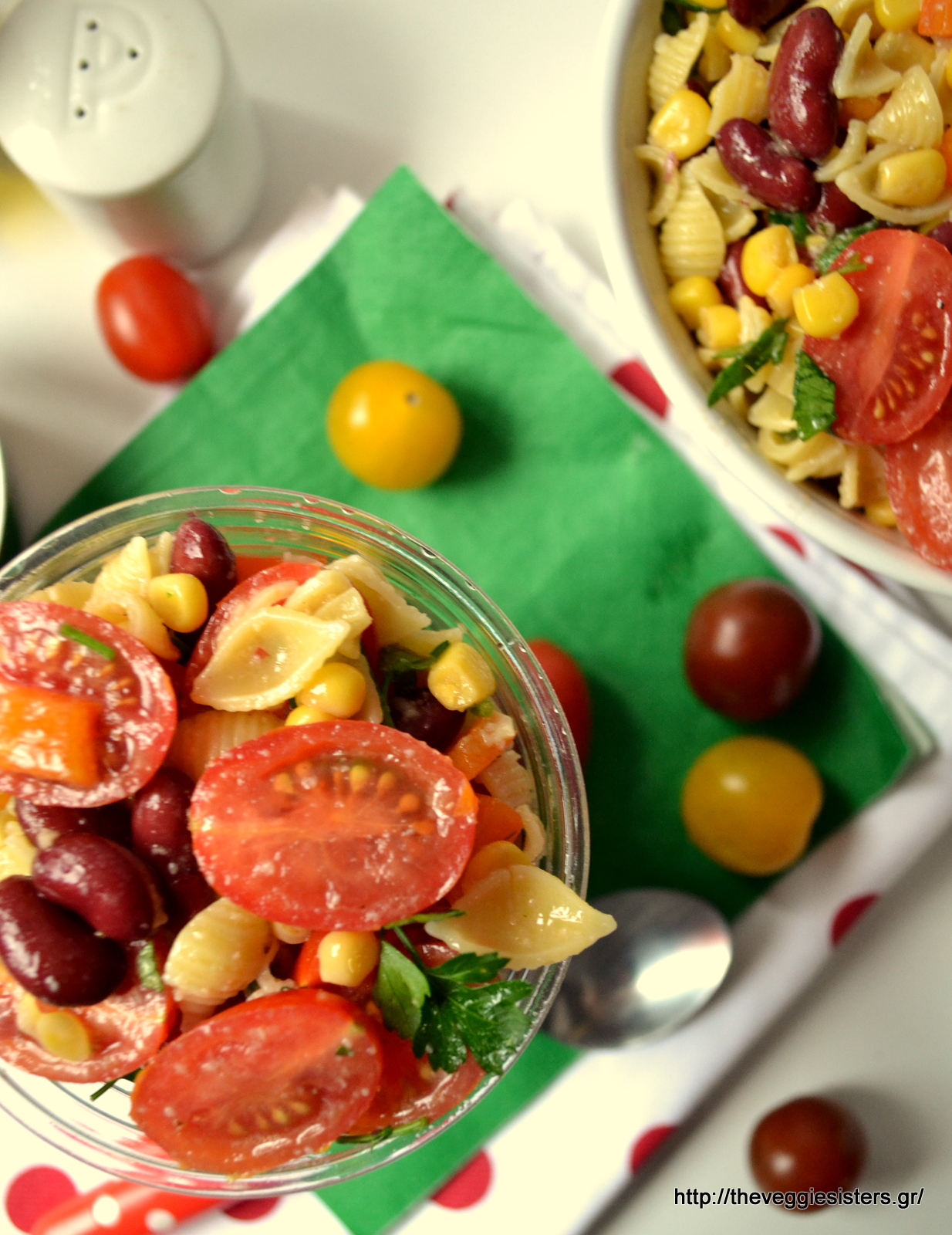 Δροσιστική σαλάτα με ζυμαρικά, λαχανικά κ κόκκινα φασόλια - Refreshing pasta salad with veggies and red beans