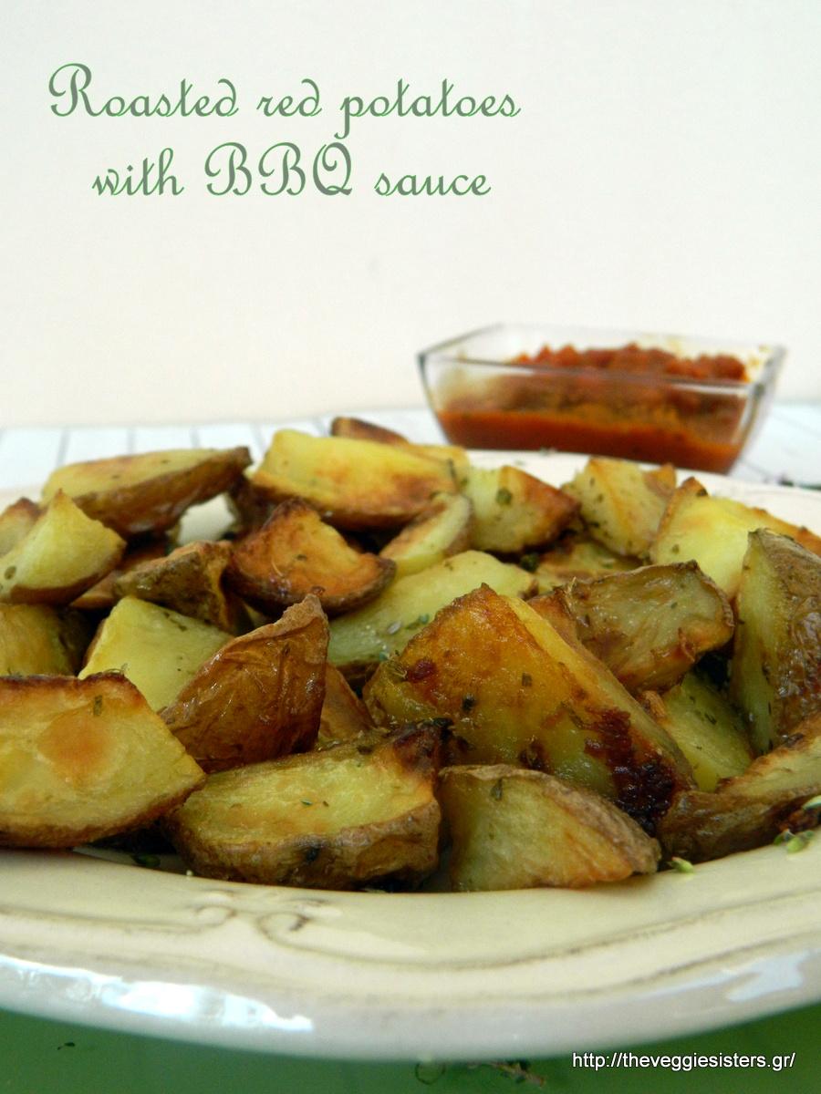 Ψητές κόκκινες πατάτες με σπιτική σάλτσα BBQ
