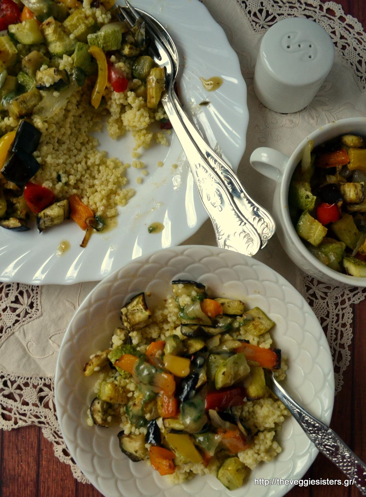 Κεχρί με ψητά λαχανικά κ σάλτσα από ταχίνι - Roasted veggie millet with tahini sauce