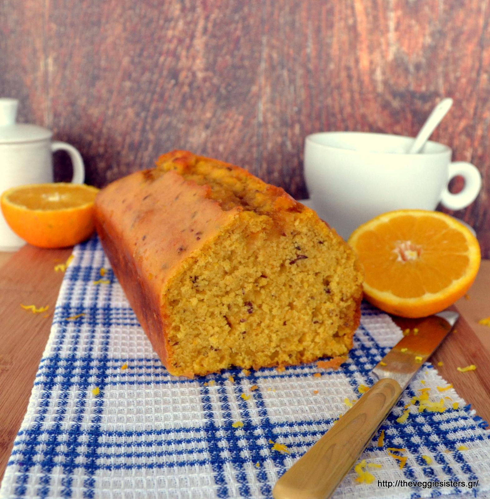 Ελαφρώς σιροπιασμένο κέικ πορτοκαλιού - Slightly syruped orange cake