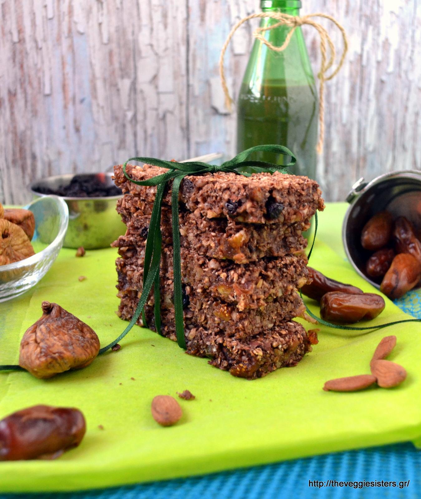 Μπάρες βρώμης με ξερά φρούτα κ ξηρούς καρπούς - Dried fruit nut oat bars