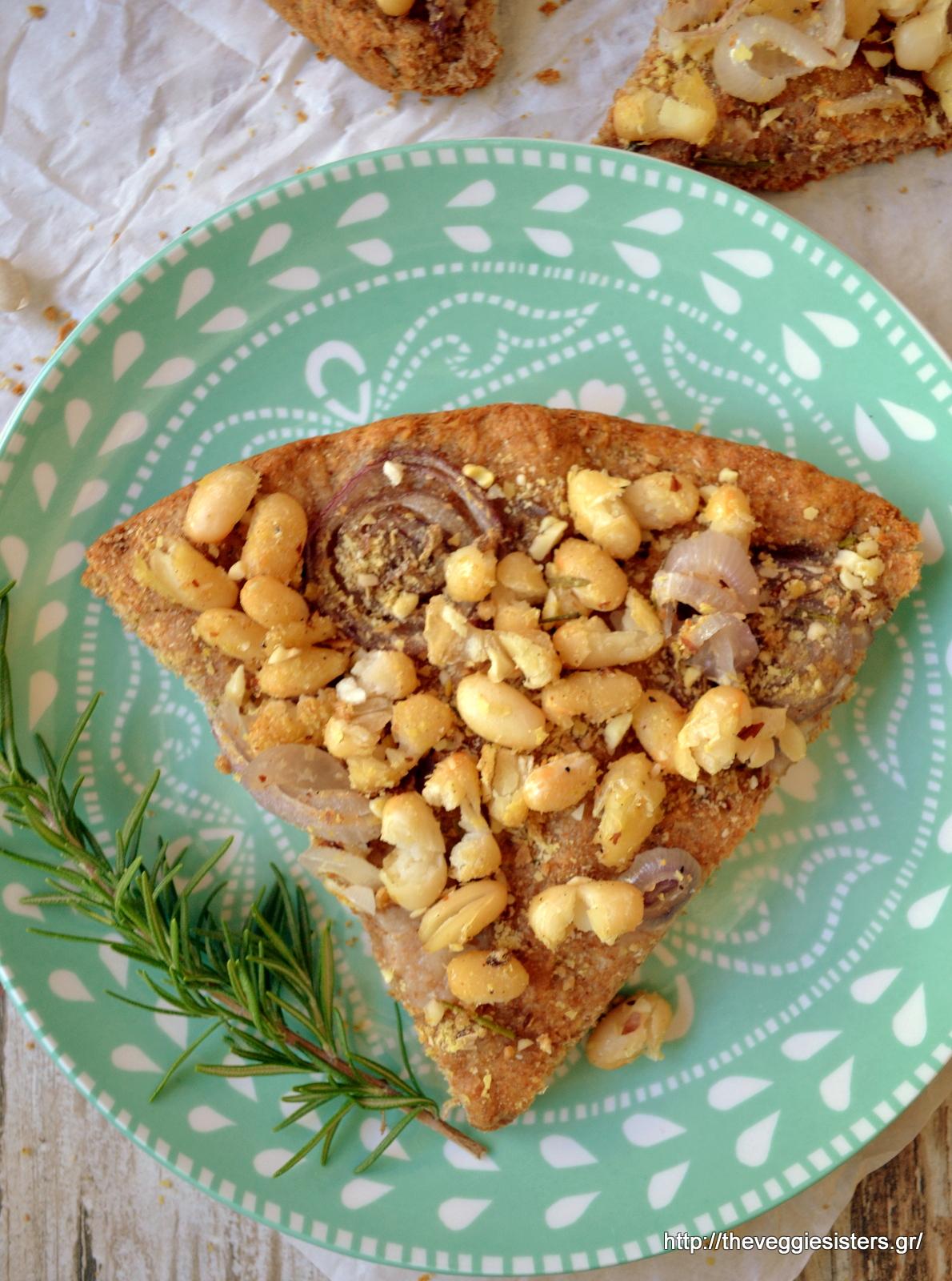 Πίτσα-λαδένια με φασόλια, κρεμμύδι κ δεντρολίβανο - Onion rosemary bean pizza