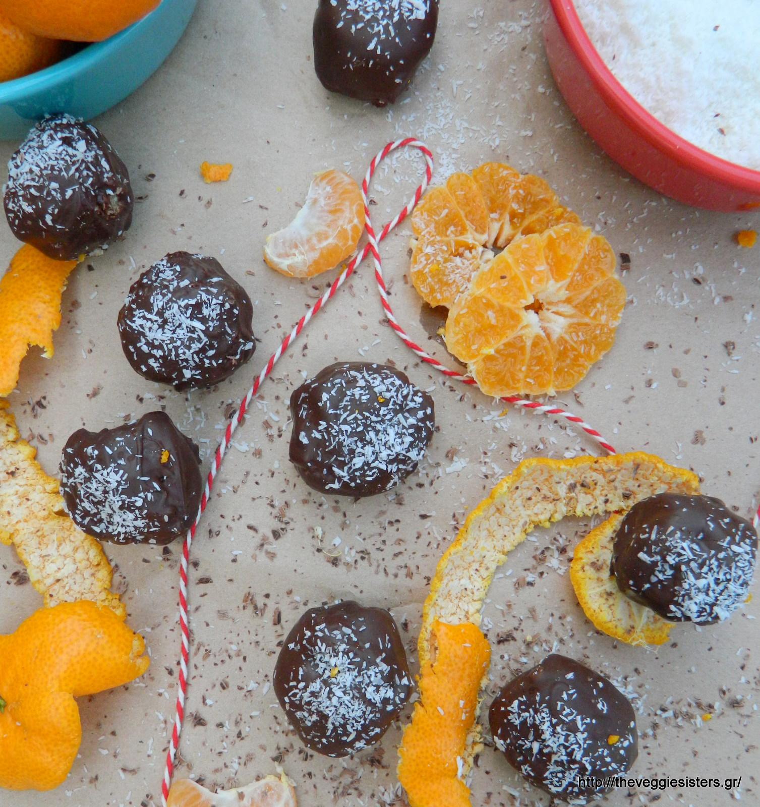 Λαχταριστά σοκολατένια τρουφάκια καρύδας