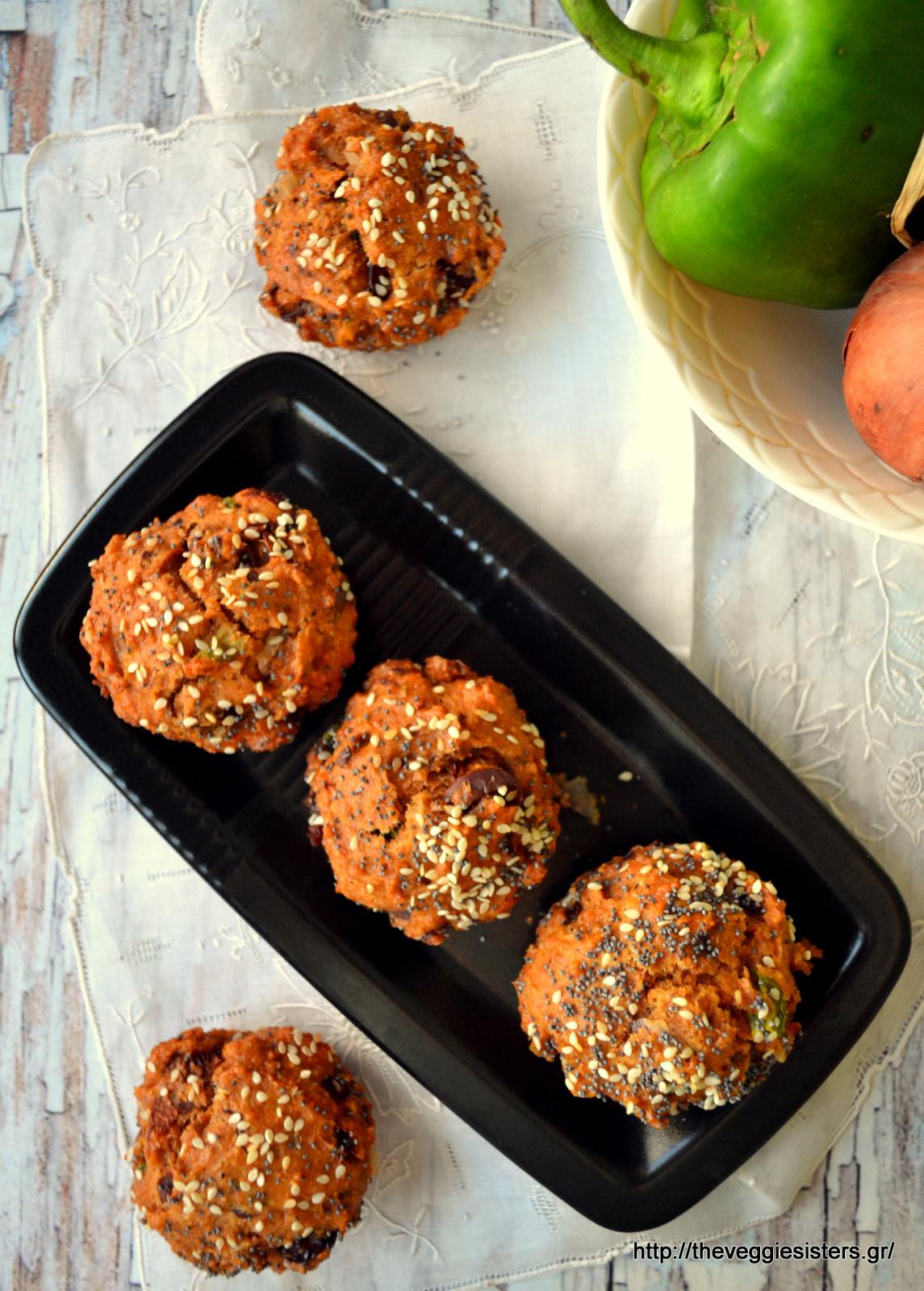 Νηστίσιμα αλμυρά μεσογειακά μάφιν - Vegan mediterranean muffins