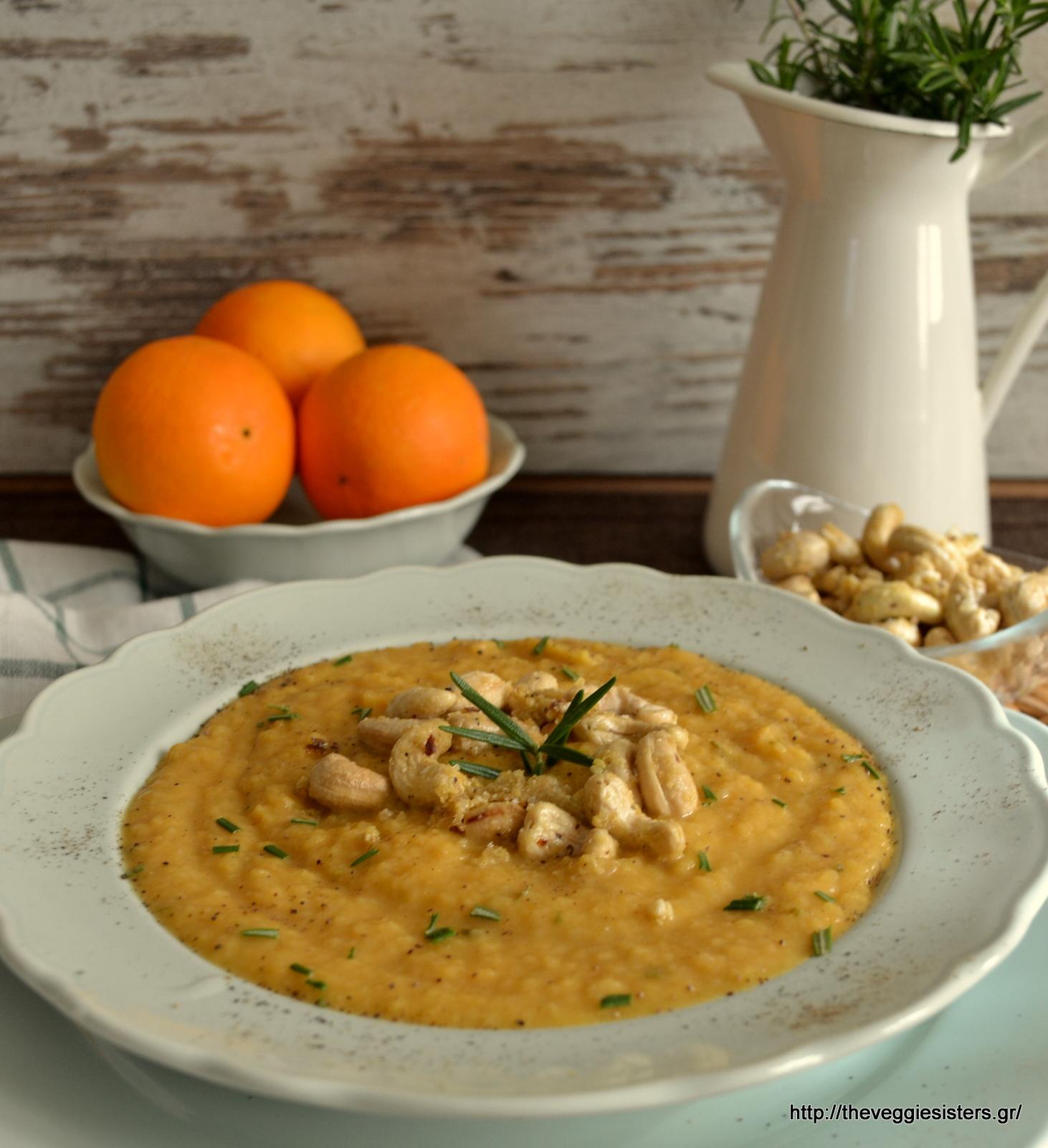 Σούπα με γλυκοπατάτα, ρέβα (γογγύλι) κ σκορδάτα κάσιους - Sweet potato turnip soup with garlicky cashews