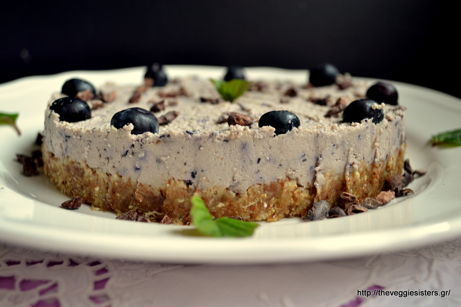 Νηστίσιμο ωμοφαγικό cheesecake με μύρτιλλα (blueberries)