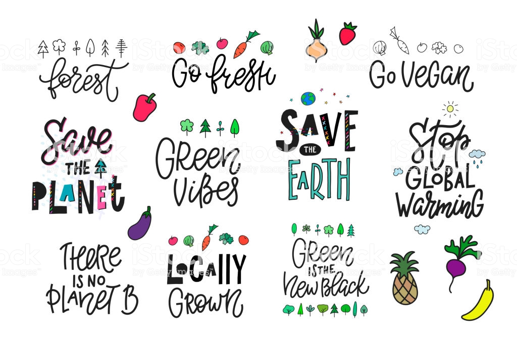 Save the Planet Earth vegan quote lettering set. Calligraphy inspiration graphic design typography element. Hand written postcard Cute simple vector sign. Textile print cutout collage vegetables green