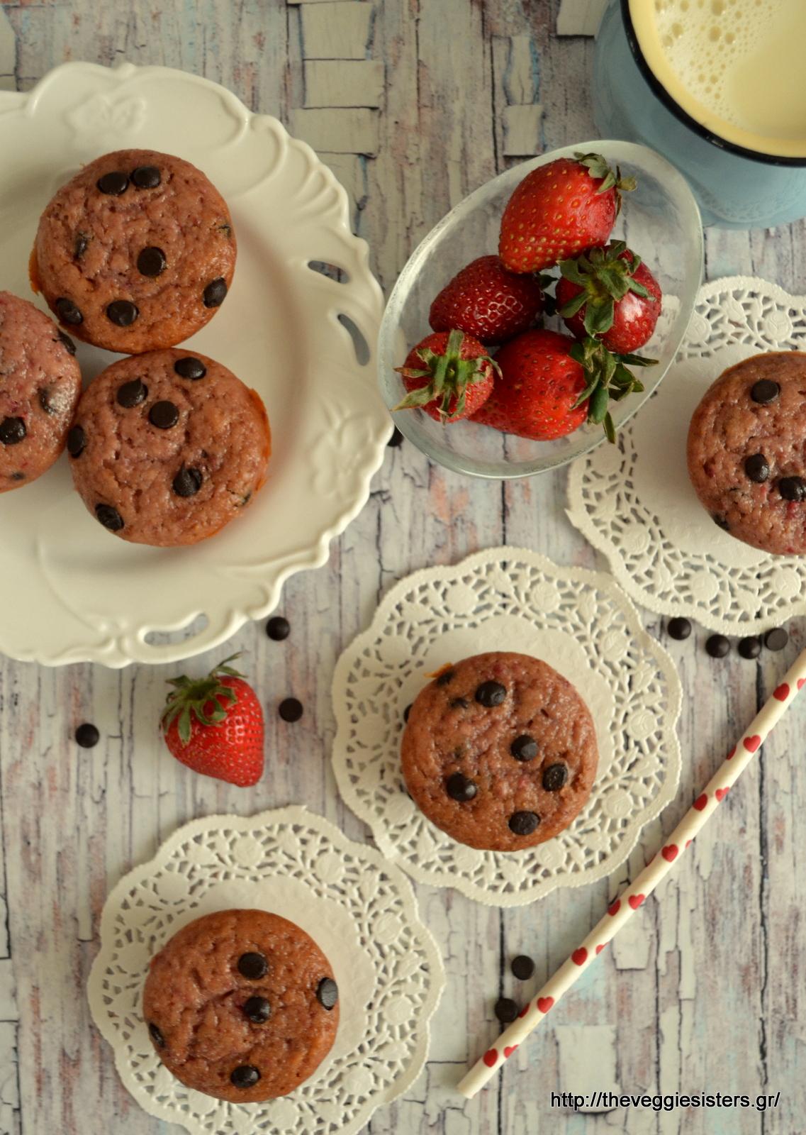 Μάφινς φράουλας με σοκολάτα